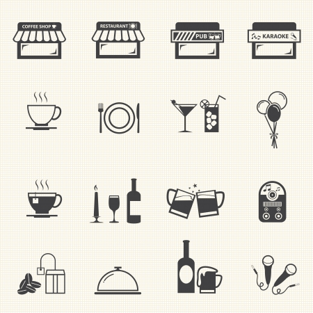 Cafe and Restaurant icons with texture background  Vector
