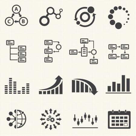 Business Infographic icons with texture background  Vector Graphics Illustration