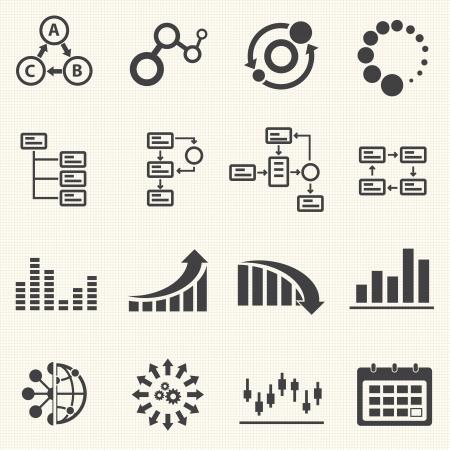 Zakelijke Infographic pictogrammen met textuur achtergrond Vector Graphics
