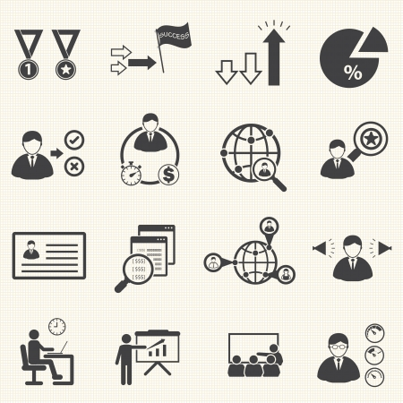 company profile: human resource management and consulting business icons set, vector set