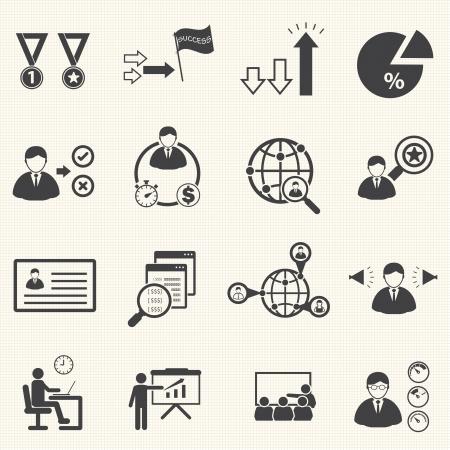 human resource management en consulting bedrijven iconen set, vector set Stock Illustratie