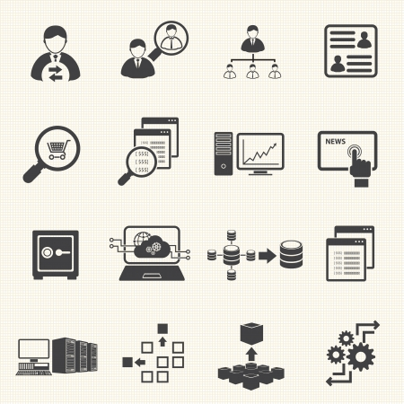 Business Finance and Information technology icons on texture background Stock Vector - 23865912