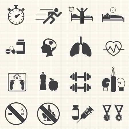 Fitness and Health icons  Healthy lifestyle  Vector Иллюстрация