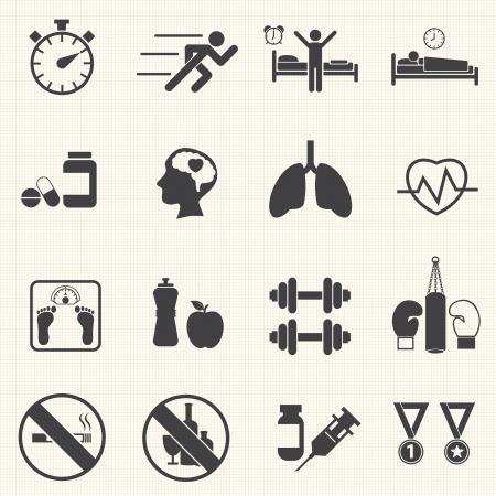Fitness en gezondheid iconen Gezonde levensstijl Vector Stock Illustratie