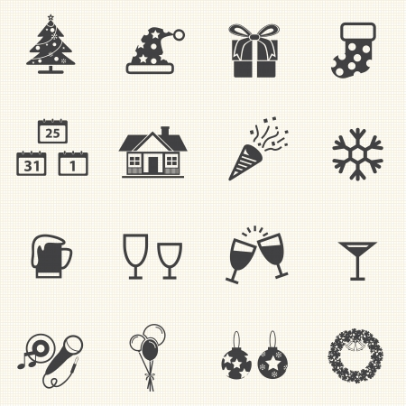 Christmas and New year Icons with White Background Vector