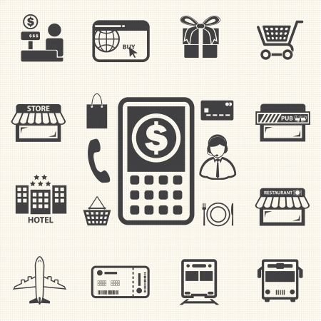 mobile banking: Mobile banking icons set  Pay by mobile  E-commerce  Illustration