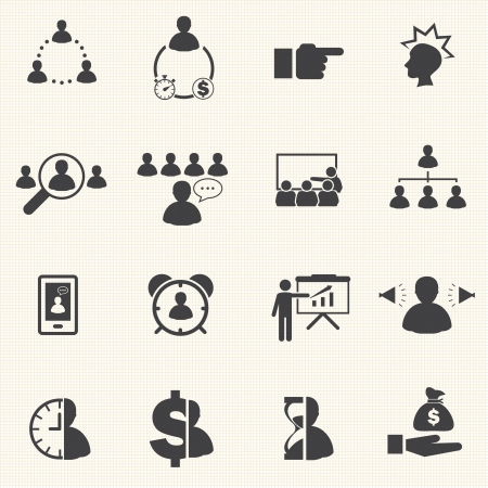 relate: Time management relate The Leadership concept  Business icons set  Vector