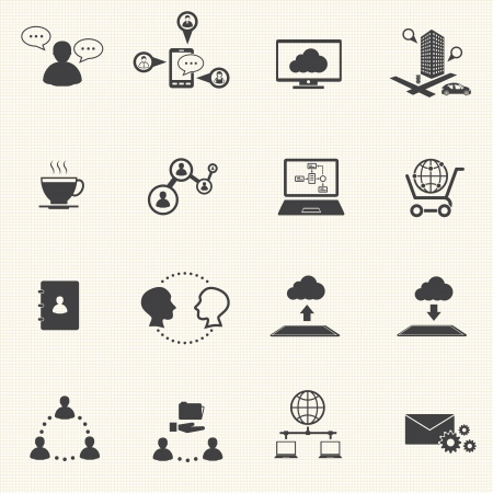 info business: Business and social network icons set  Vector Illustration