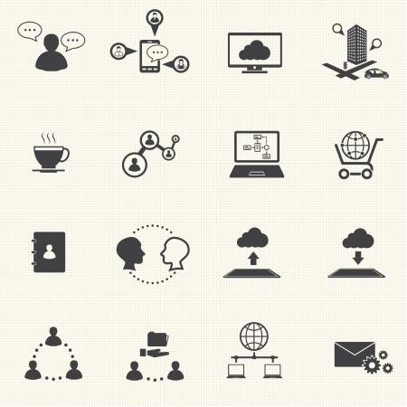 Zakelijke en sociale netwerk pictogrammen set Vector Stock Illustratie