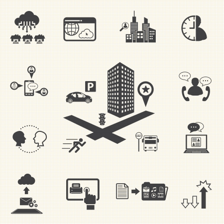 Business meeting and Cloud computing icons set  Vector Illustration