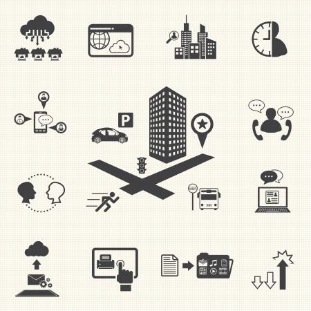 Zakelijke bijeenkomst en Cloud computing iconen set Vector