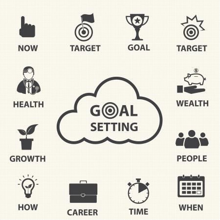 Smart doelen stellen Vector pictogrammen die