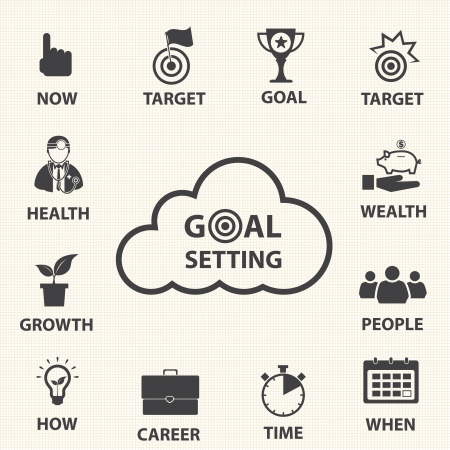 Smart goal setting  Vector icons set