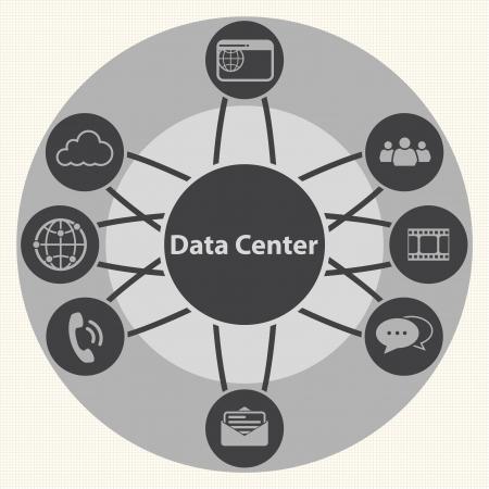 データ ・ センターとシステムの一元的なインフラストラクチャ管理の概念ベクトル