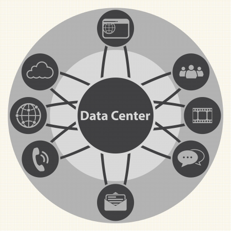 centralized: Data center and Centralized  System infrastructure management concept  Vector Illustration
