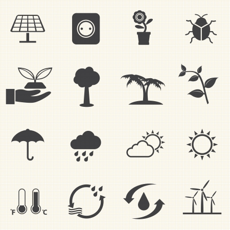 eco energy icons set with texture background  Vector Vector