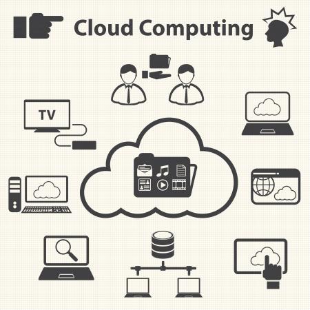 データ、クラウドコンピューティングの概念ベクトルを共有