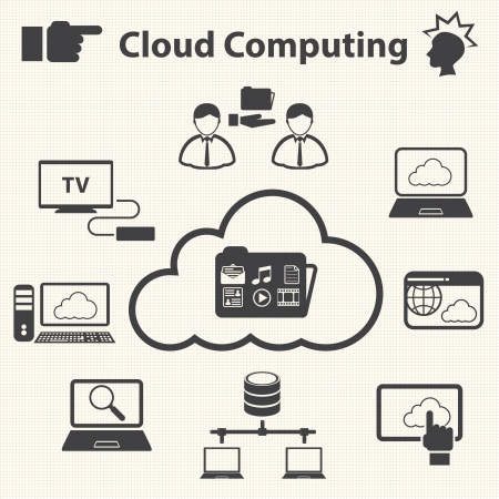 info business: Data sharing  The Cloud computing concept  Vector Illustration