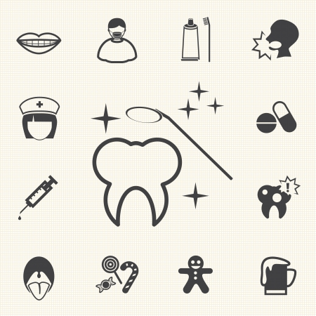 rotting: Dental and medical icons  Vector Illustration