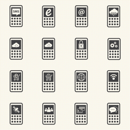 wireles: Mobile devices and network icons set  Vector Illustration