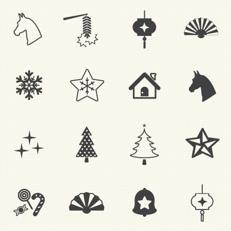 jingle bell: Christmas and new year Icons with texture background  Vector icon set