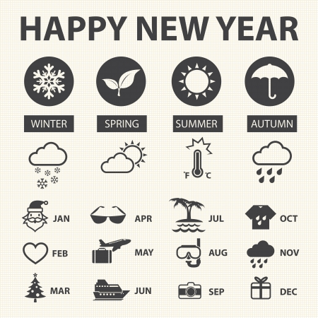 four seasons: Happy new year with weather icons for Calendar, Vector illustration Illustration