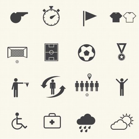 arquero futbol: Iconos del f�tbol fijado con textura de fondo Vector Vectores