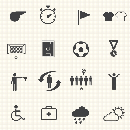 Soccer icons set with texture background  Vector