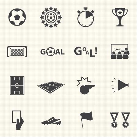 portero futbol: Iconos del f�tbol fijado con textura de fondo Vector Vectores