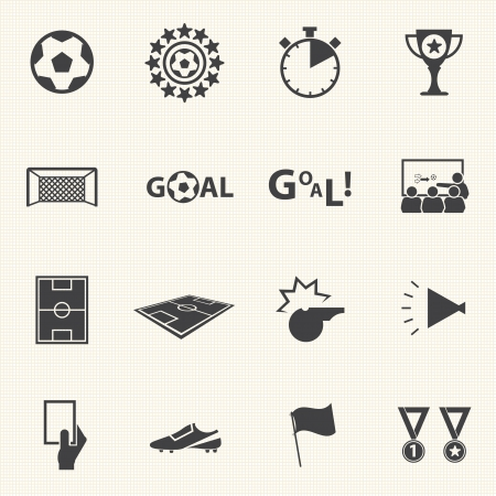 soccer stadium: Soccer icons set with texture background  Vector
