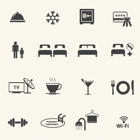 Hotel icons with texture background  Vector icon set  Vector
