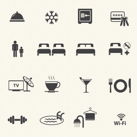campanas: Iconos del hotel con la textura de fondo Vector icono conjunto