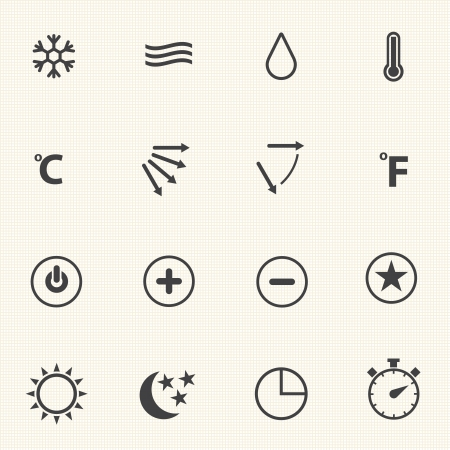 heat: Air conditioning icons with texture background