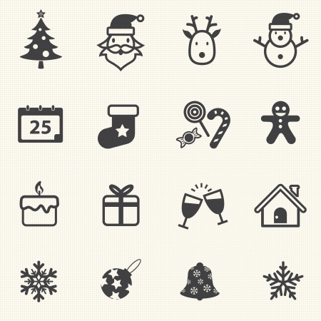 Christmas Icons with texture background  Vector icon set  Vector