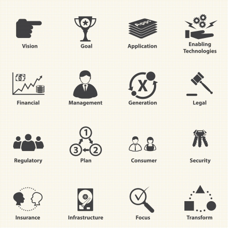 Bedrijfs pictogrammen voor IT Strategische planning Vector Stock Illustratie