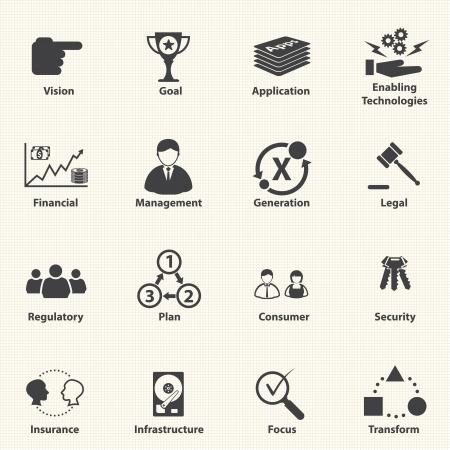 planificacion estrategica: Iconos de negocio para TI planificaci�n Vector Estrat�gico