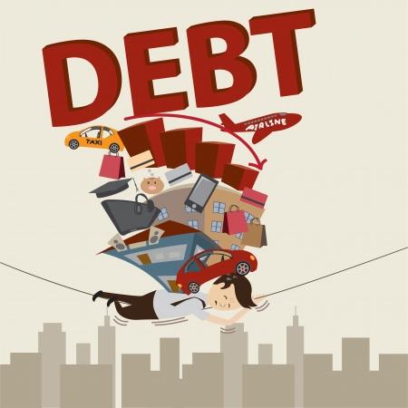 Living with debt  Businessman Life  Vector Illustration