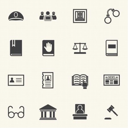 テクスチャ背景ベクトルを持つ法的、法と正義のアイコンを設定します。  イラスト・ベクター素材