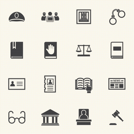 Legal, law and justice icons set with texture background  Vector