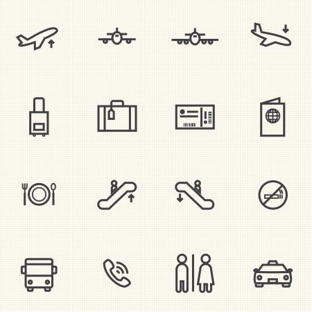Eenvoudige Gestreken Airport icoon sets Gespreksiconen Stock Illustratie