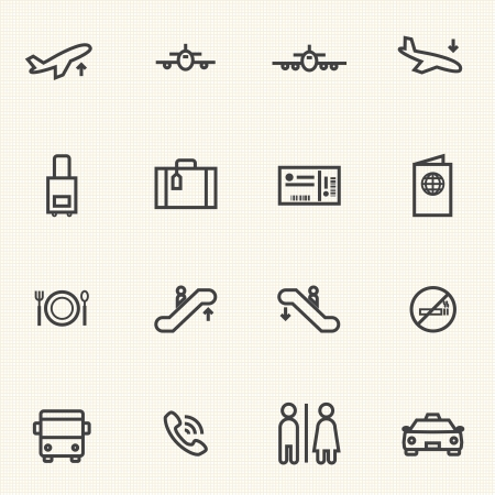 Simple Stroked Airport icon sets  Line icons  Vector