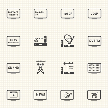 digital television: Digital Television icons set with texture background  Vector Illustration