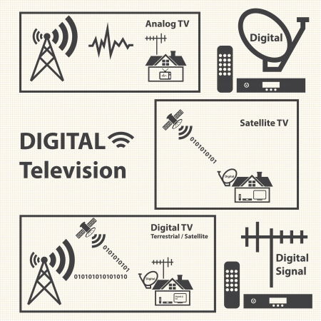 converter: Digital Television concept with texture background  Vector