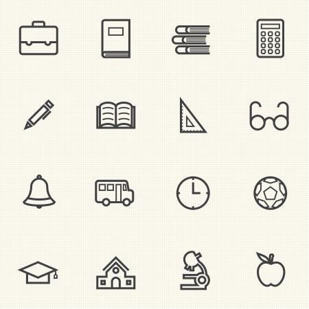Icon Educazione semplice imposta icone di linea Archivio Fotografico - 25279822