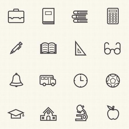 transport scolaire: Simple ic�ne de l'�ducation �tablit ic�nes ligne Illustration