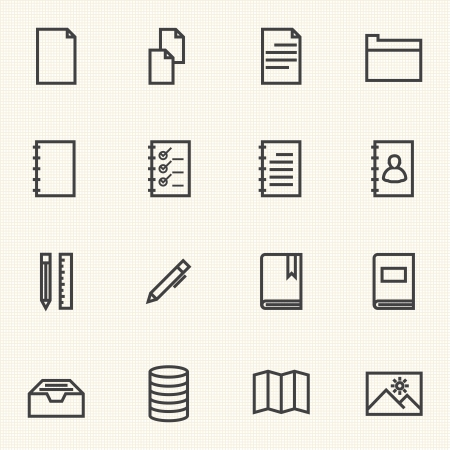 Simple Documents and Library icon sets  Line icons