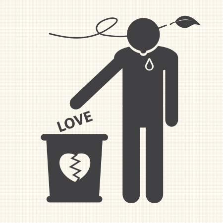 Broken heart and dropped Love into the trash  Vector