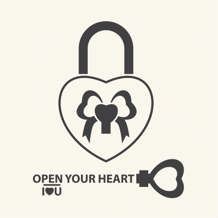 Key with a heart inside and lock as heart  Vector of Valentine s Day Vector