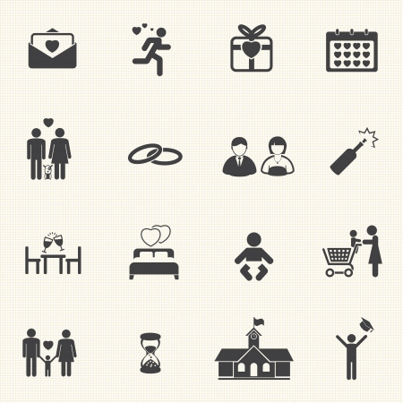 Valentine s Day and First Love Icons  Vector icon set  Vector