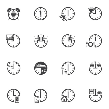 breakfast in bed: Time, Daily Routine icons set for internet marketing and services.